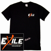 Exile Black Tee- Front Left Chest
